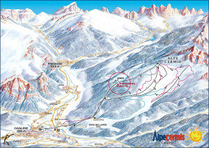 Map of Dolomites Alpe Cermis